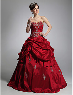 Ball Gown Strapless Sweetheart Floor Length Taffeta Prom Dress with Appliques by TS Couture®