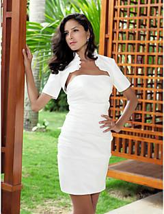 Wedding  Wraps Shrugs Short Sleeve Taffeta Ivory Wedding High Neck T-shirt Ruffles Open Front