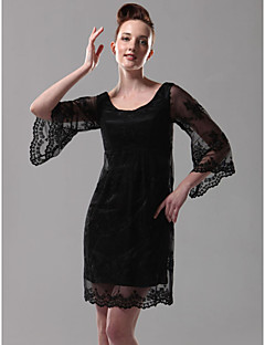 Homecoming Cocktail Party/Holiday Dress - Black Plus Sizes Sheath/Column Scoop Short/Mini Lace