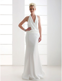 Lanting Sheath/Column Petite / Plus Sizes Wedding Dress - Ivory Floor-length V-neck Stretch Satin