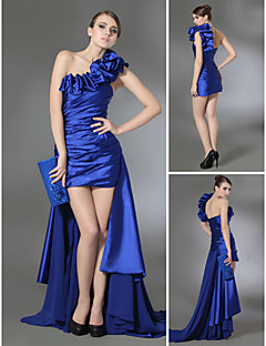 Prom/Formal Evening Dress - Royal Blue Plus Sizes Sheath/Column One Shoulder Court Train Chiffon/Stretch Satin