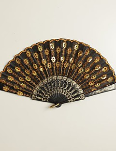 "Silke Vifter Og Parasoller Stk. / Sæt Håndvifter Have Tema Asiatisk Tema Guld Håndtag 16 1/2""x9""x 3/4""(42cmx23cmx1cm)1""x9""x"