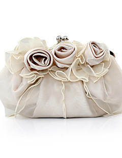Women Satin Event/Party Evening Bag White / Pink / Brown / Red / Silver