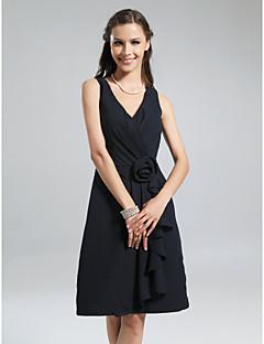 Lanting Bride Mi-long Mousseline de soie Robe de Demoiselle d'Honneur - Petite Robe Noire Trapèze Col en V Grande Taille / Petite avec