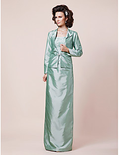 Lanting Sheath/Column Strapless Floor-length Taffeta Mother of the Bride Dress With A Wrap