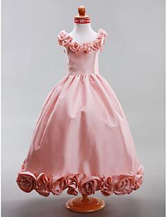 Lanting Bride A-Linie / Prinzessin Boden-Länge Blumenmädchenkleid - Taft Ohne Ärmel Rundhalsausschnitt mit Drapiert / Blume(n)