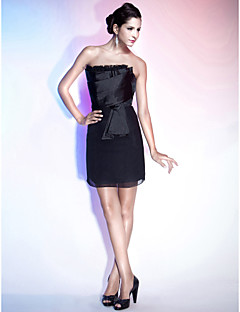 Cocktail Party / Holiday Dress - Black Plus Sizes / Petite Sheath/Column Strapless Short/Mini Chiffon / Satin