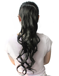 High Quality Synthetic 22 Inch Black Curly Ponytail