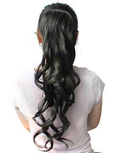 Svartlockig peruk i hästsvans av syntetiskt hår med hög kvalitet (56 cm)