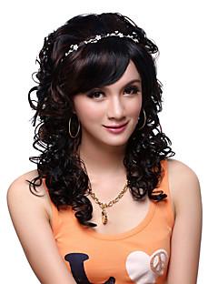 sin tapa larga de alta calidad de grado sintético negro y rizado peluca hermosa