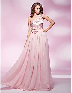 프롬/밀리터리 볼/저녁 정장파티 드레스 - 블러슁 핑크 시스/컬럼 바닥 길이 원 숄더 쉬폰/엘라스틱 우븐 사틴 플러스 사이즈