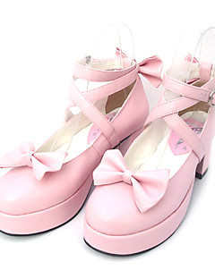 Lolita Shoes Sweet Lolita Princess High Heel Shoes Bowknot 6.5 CM Black / Pink For Women PU Leather/Polyurethane Leather