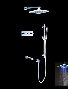 Contemporary Shower System Rain Shower Handshower Included LED with  Ceramic Valve Five Holes Two Handles Five Holes for  Chrome , Shower