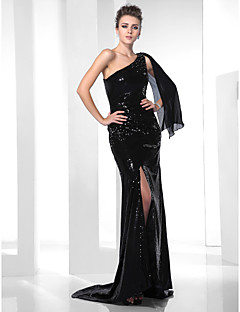 TS Couture Formal Evening Dress - Black Plus Sizes / Petite Trumpet/Mermaid One Shoulder Sweep/Brush Train Sequined