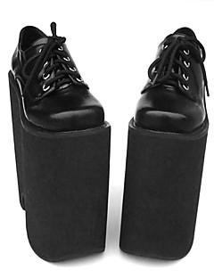 "8.5"" Super High Heel Platform Black PU Lolita Shoes"