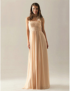 Lanting Bride® Floor-length Chiffon Bridesmaid Dress A-line Halter Plus Size / Petite with Draping / Ruffles / Ruching / Pleats
