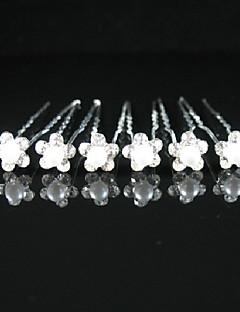 schitterende kristallen bruiloft bruids pennen / bloemen, 6 stuks