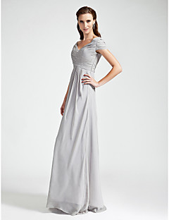 Sheath / Column V-neck Off-the-shoulder Floor Length Chiffon Bridesmaid Dress with Draping Criss Cross by LAN TING BRIDE®