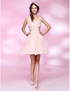 TS Couture Cocktail Party Homecoming Sweet 16 Dress - Short Celebrity Style A-line Princess V-neck Short / Mini Chiffon Tulle withDraping