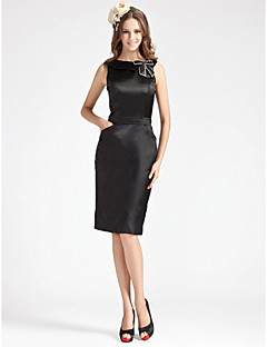 Knee-length Stretch Satin Bridesmaid Dress - Black Plus Sizes Sheath/Column Bateau