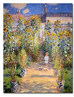 pintados a mano, pintura al óleo de Claude Monet se extendía con marco