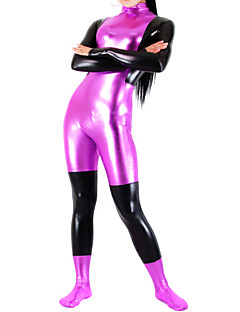 Fuschia and Black Mixed Color Shiny Metallic Women Spandex Catsuit