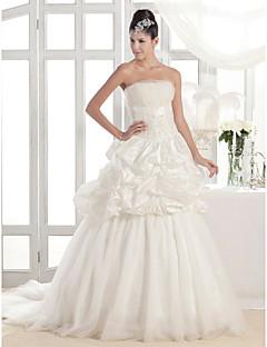 lanting 매력적인 라인 끈 법원 기차 태 피터 얇은 명주 그물 웨딩 드레스