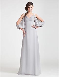 Floor-length Chiffon Bridesmaid Dress - Silver Plus Sizes / Petite A-line / Princess V-neck / Straps