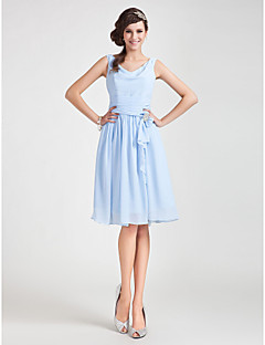 Lanting Bride® Knee-length Chiffon Bridesmaid Dress A-line / Princess Cowl Plus Size / Petite withDraping / Sash / Ribbon / Ruching /