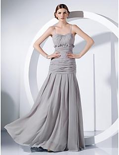 저녁 정장파티/밀리터리 볼 드레스 - 실버 시스/컬럼 바닥 길이 스파게티 스트랩 쉬폰 플러스 사이즈