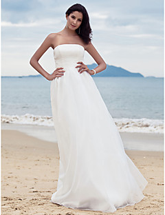 Sheath/Column Plus Sizes Wedding Dress - Ivory Floor-length Strapless Satin/Organza