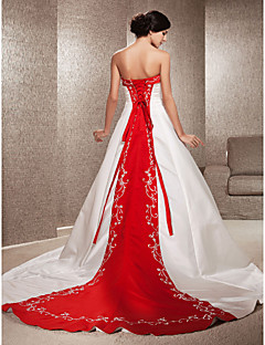 Lan Ting A-line/Princess Plus Sizes Wedding Dress - Ivory & Ruby (color may vary by monitor) Chapel Train Strapless Satin