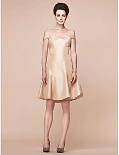 Lanting A-line Plus Sizes / Petite Mother of the Bride Dress - Champagne Knee-length Short Sleeve Taffeta