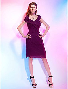 Cocktail Party Homecoming Dress - Short Sheath / Column Off-the-shoulder Knee-length Chiffon with Side Draping Criss Cross
