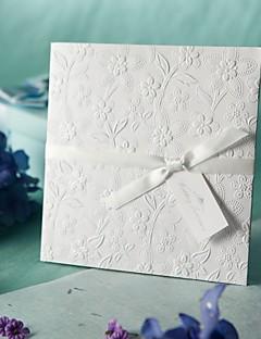 blanc invitation de mariage en relief les fleurs du printemps (jeu de 50)