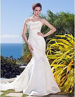 Lanting Trumpet/Mermaid Sweetheart Sweep/Brush Train Satin Organza Wedding Dress