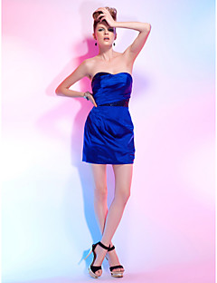 Sheath/Column Sweetheart Short/Mini Cocktail Dress In Stretch Satin And Sequins