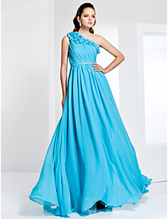 Formal Evening / Prom / Military Ball Dress - Pool Plus Sizes / Petite A-line / Princess One Shoulder Floor-length Chiffon