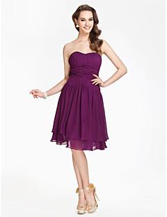 Knee-length Strapless Sweetheart Bridesmaid Dress - Open Back Sleeveless Chiffon