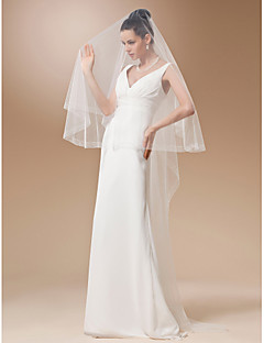 One-tier Tulle Waltz Veil With Bead Edge(More Colors)