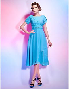 thuiskomst cocktail party dress - zwembad plus maten a-lijn / prinses juweel tea-length chiffon