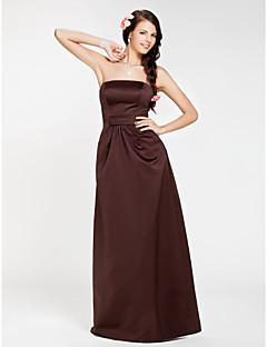 Lanting Floor-length Satin Bridesmaid Dress - Chocolate Plus Sizes / Petite Sheath/Column Strapless