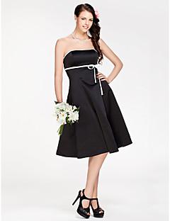 Lanting Bride Mi-long Satin Robe de Demoiselle d'Honneur - Petite Robe Noire Trapèze / Princesse Sans Bretelles Grande Taille / Petite