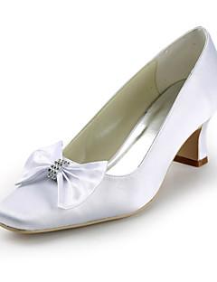 cetim toe salto robusto praça com sapatos bowknot / strass casamento (mais cores)