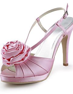 cetim de salto stiletto sandálias plataforma / Slingbacks com sapatos de cetim de flores do casamento (mais cores)