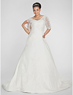 Lan Ting A-line Petite / Plus Sizes Wedding Dress - Ivory Chapel Train V-neck Taffeta