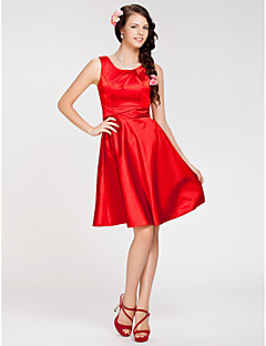 Lanting Bride Knee-length Stretch Satin Bridesmaid Dress A-line / Princess Jewel Plus Size / Petite with Side Draping