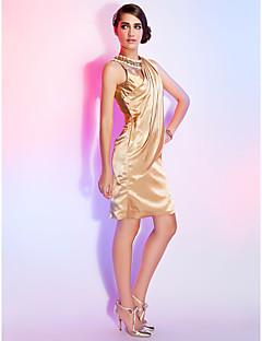 드레스 - 샴페인 시스/컬럼 무릎길이 보석 엘라스틱 우븐 사틴 플러스 사이즈