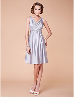 Lanting A-line Plus Sizes / Petite Mother of the Bride Dress - Silver Knee-length Sleeveless Spandex