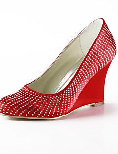 salto cunha elegante de cetim fechada dedo do pé com sapatos femininos de casamento strass partido